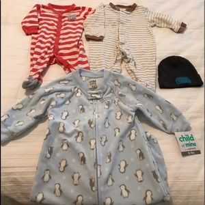 Infant boys sleepers and cap